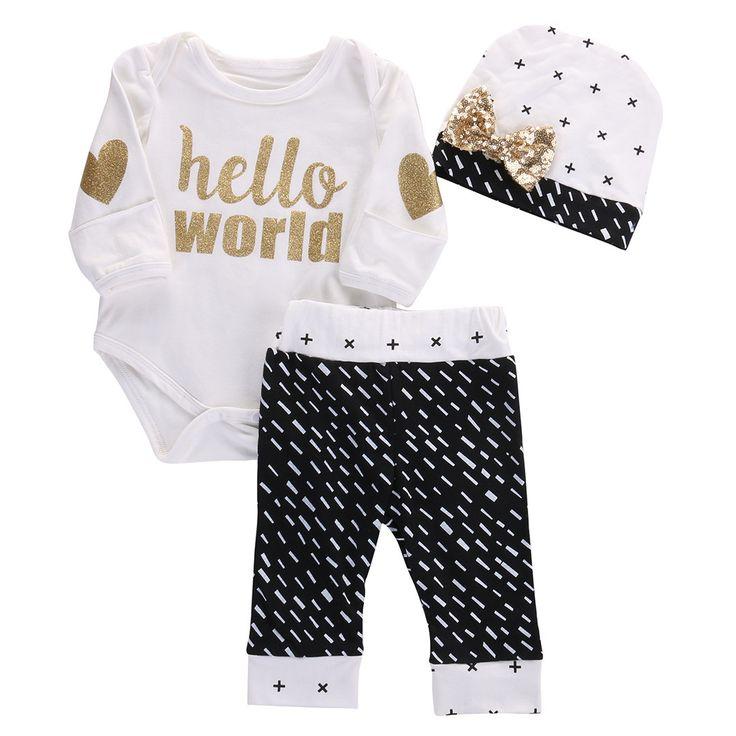 Baby Girls ( Hello World ) Long Sleeve Onesie/Romper Pants and Hat Set.