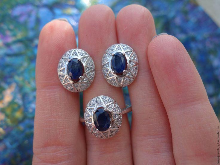 """Купить """"Звездная Ночь""""-чарующий комплект с синими сапфирами - синий, Звездная ночь, комплект с сапфирами"""