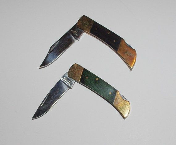 2 Small Pocket Knives Single Blade Wood Handles  by StetsonKnives