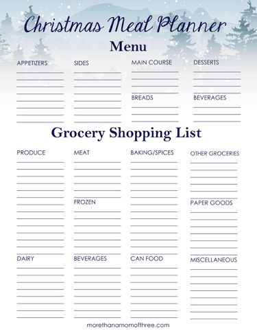 A Christmas Meal Planner makes planning my Christmas dinner less stressful for me each year. I can take my time on what I want to serve for each course.