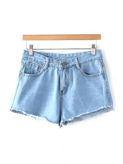 Luminaria de azul medio de la cintura pantalones cortos de mezclilla