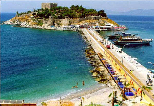 kusadasi, turkey. The castle on the island is an old watch tower. We climbed it...and jumped off.