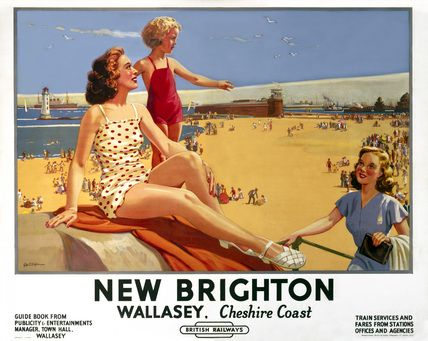 'New Brighton - Wallasey, Cheshire Coast', BR (LMR) poster, 1949.