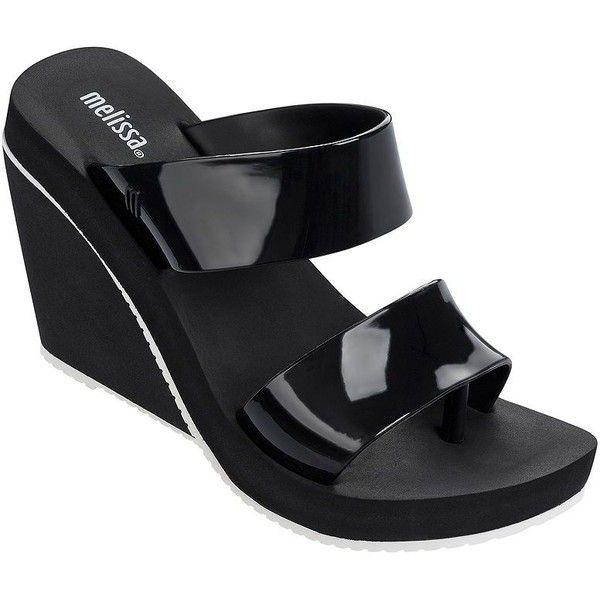 Melissa Ankle-Buckle Wedge Sandals ($64) ❤ liked on Polyvore featuring shoes, sandals, black white, high wedge shoes, buckle shoes, black and white shoes, black and white high heel shoes and wedge sandals