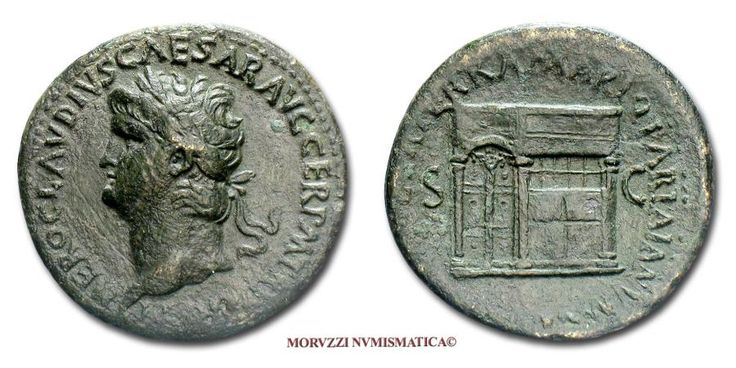 Ancient Coins - Nero SESTERTIUS 65 AD Temple of Janus RARE (R) Roman coin for sale