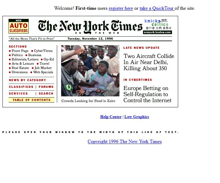 The New York Times website in 1996