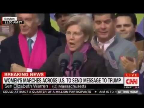 Sen Elizabeth Warren Full Speech at Women March Against President Trump Protest  - YouTube