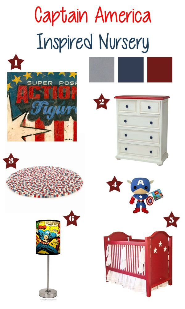 Captain America inspired nursery mood board by children's furniture purveyor- Newport Cottages, featuring superhero wall art by Aaron Christensen.