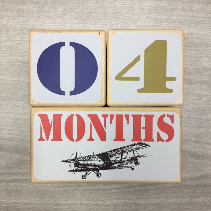 Baby Milestone Blocks - Baby Age Blocks - Vintage Airplanes - Newborn Boy - Pregnancy Photo Prop - Baby Shower Gift - Boy Nursery Decor by StickEmUpBaby on Etsy