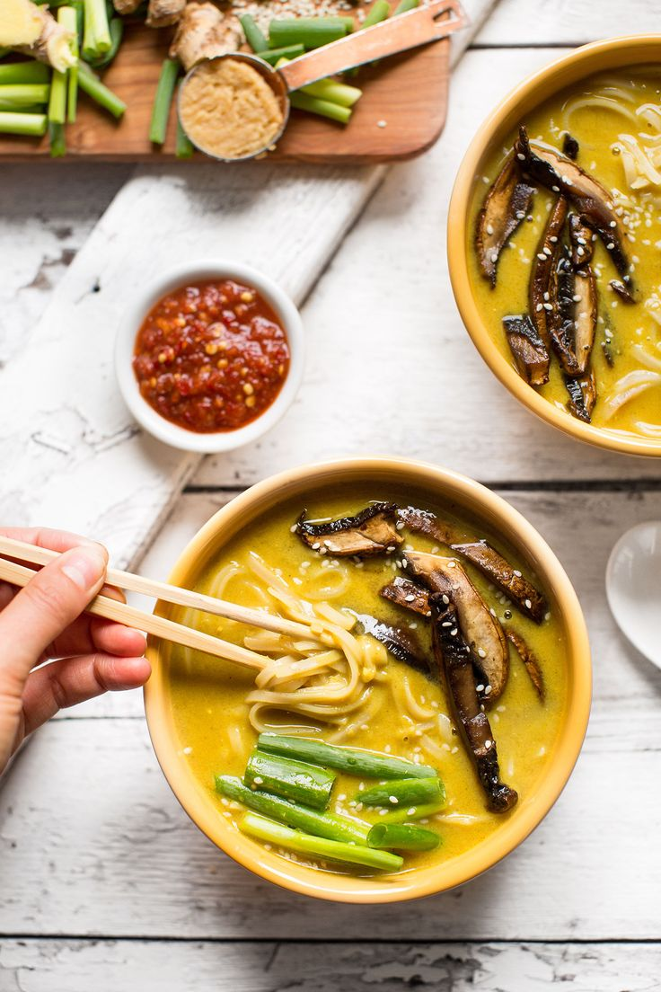 Savory vegan ramen infused with curry and coconut milk. Serve with sautéed portobello mushrooms and gluten-free noodles for the ultimate plant-based meal.