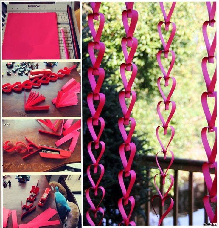 Cortinas de corazones. Este proyecto esta ideal para decoración de fiestas de niña o para el día de los enamorados, son corazones elaborados en papel, guirnaldas que adornan fabulosamente con sus formas. http://wp.me/p1ytFq-Nt
