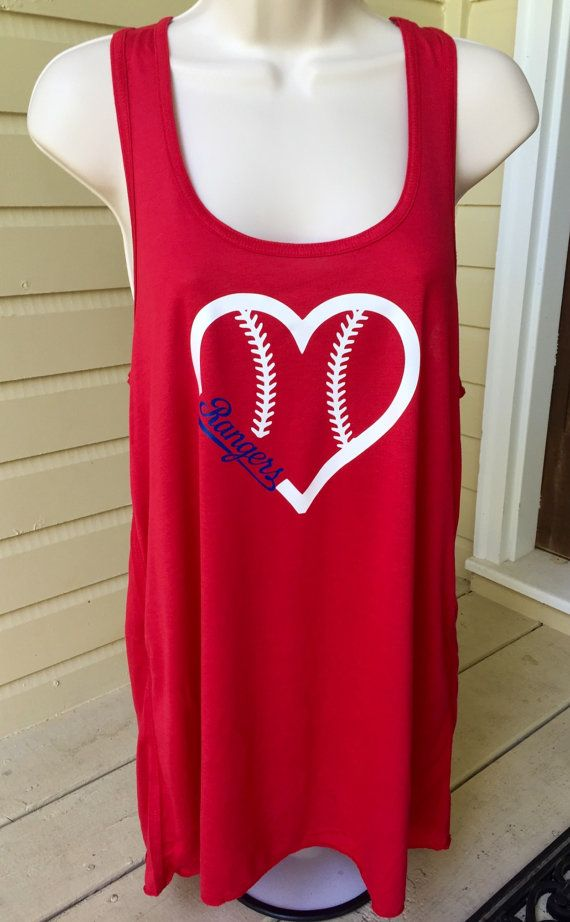 This is a super cute Texas Rangers baseball heart flowy tank top. These tank tops are very soft and perfect for the hot summer games! This can be custom made in a different tank top/vinyl colors. We can even do a fitted or regular t-shirt if youd like, just send us a message. Check out our pictures to see the color charts.  Please contact us with any questions at all :)  For best results wash inside out. Never iron over vinyl.