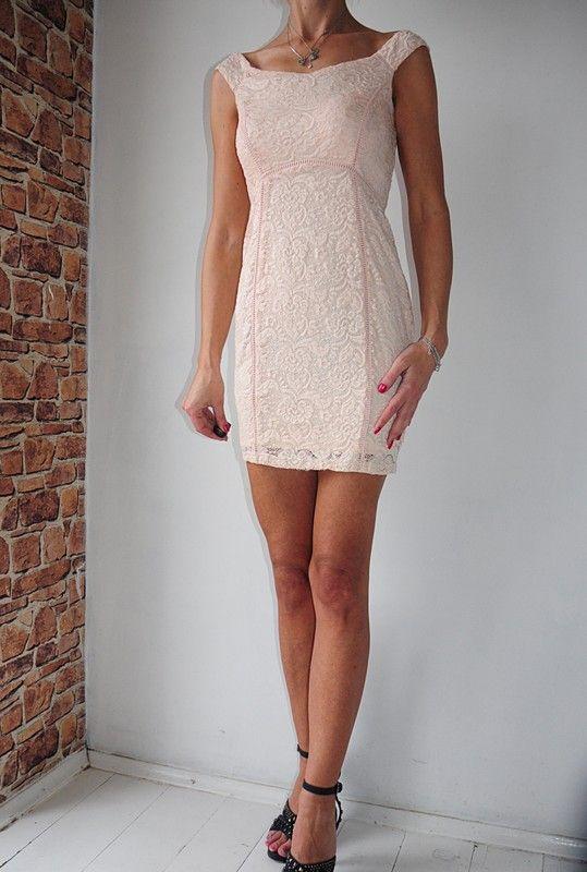 e71375a764 New Look sukienka koronkowa cielista mini 36 - vinted.pl