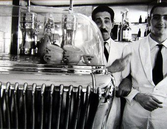 William Klein - Two Waiters in Café, Rome, 1956