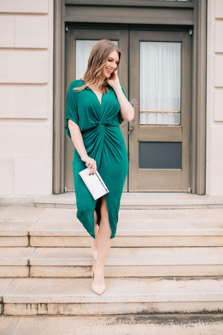 How to Style a Holiday Dress 2017//Emerald Dress//Cocktail Dress//Party Dress//Midi Dress//Classy Dress//Knotted Dress//Holiday Dress//Christmas//Holiday Style