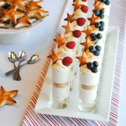 No-bake Cheesecake Shooters.  A quick and easy dessert, perfect for summer celebrations.