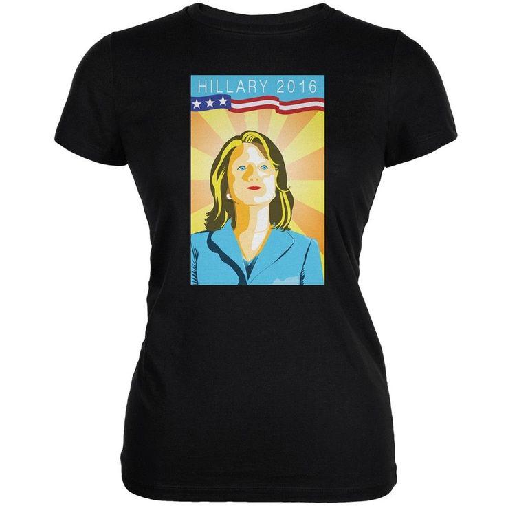 Election Hillary Clinton Poster Black Juniors Soft T-Shirt