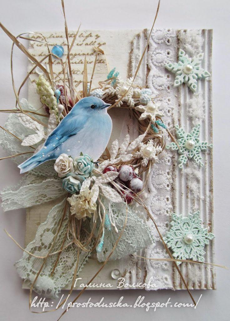 Скрапбукинг открытка с птичкой