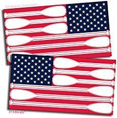 Pair American Flag USA Decal Sticker SUP Paddle Board Canoe Kayak