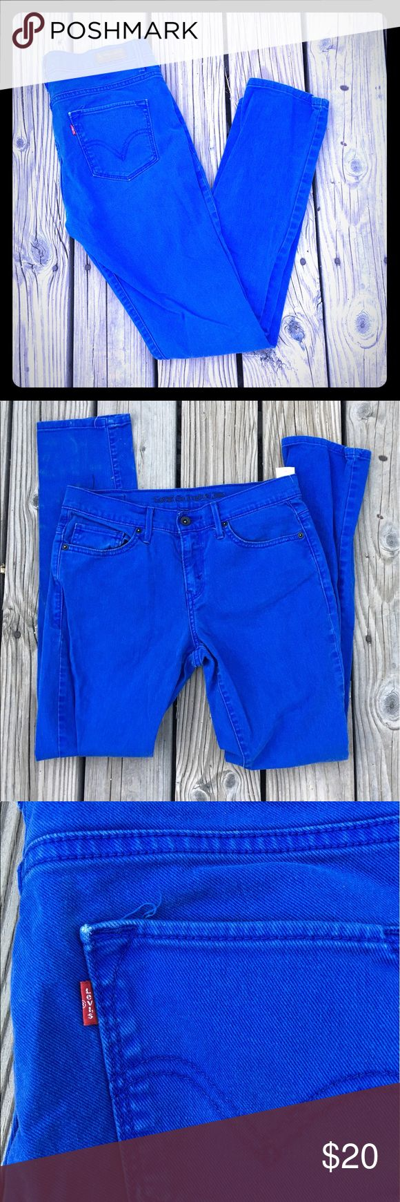 Women's royal blue Levi's skinny jeans. Women's hi rise 632 Levi's skinny jeans. Royal blue. Size 9/29. Preowned. Has worn look but these are fabulous on and the color is beautiful Levi's Jeans Skinny