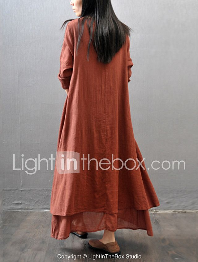 Women's Casual/Daily Simple Chinoiserie Loose Dress,Solid V Neck Maxi Long Sleeve Cotton Polyester Fall Mid Rise Inelastic Thin 2017 - $14.39