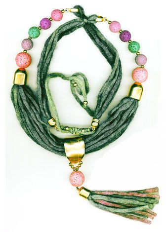 PETROL WOOL NECKLACE WITH PURPLE LAVA