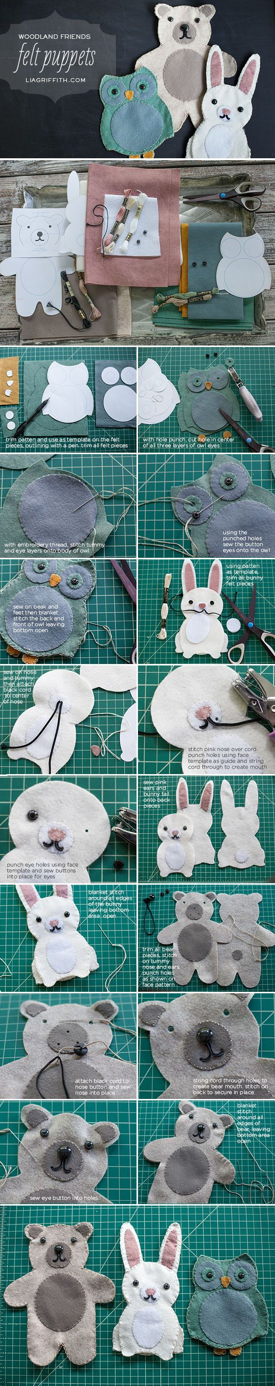 DIY Felt Puppets diy craft crafts easy crafts diy ideas diy crafts kids crafts easter crafts crafts for kids