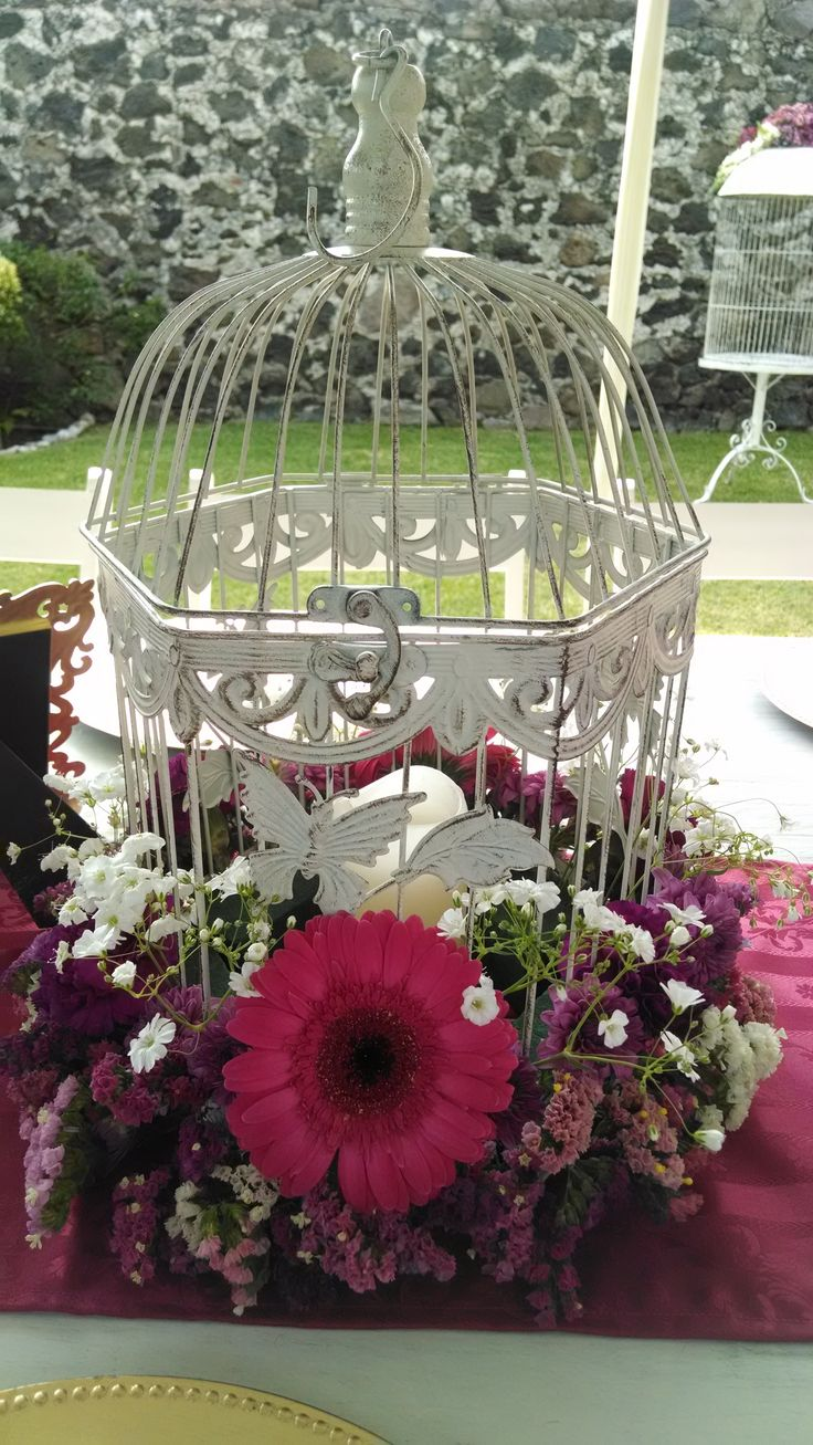 Jaula vintage con flores color malva y sangr a jaulas decoradas pinterest colors and vintage - Jaulas decoradas vintage ...