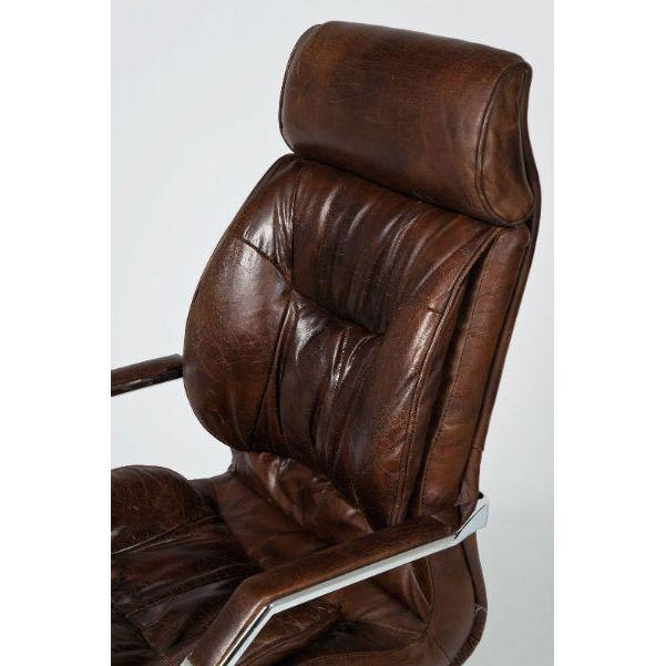 Καρέκλα Γραφείου Cigar Lounge Μοντέρνα και αναπαυτική ιδανική για ένα σύγχρονο γραφείο, με περιστρεφόμενη βάση αλουμινίου και κάλυμμα από δέρμα αγελάδας.