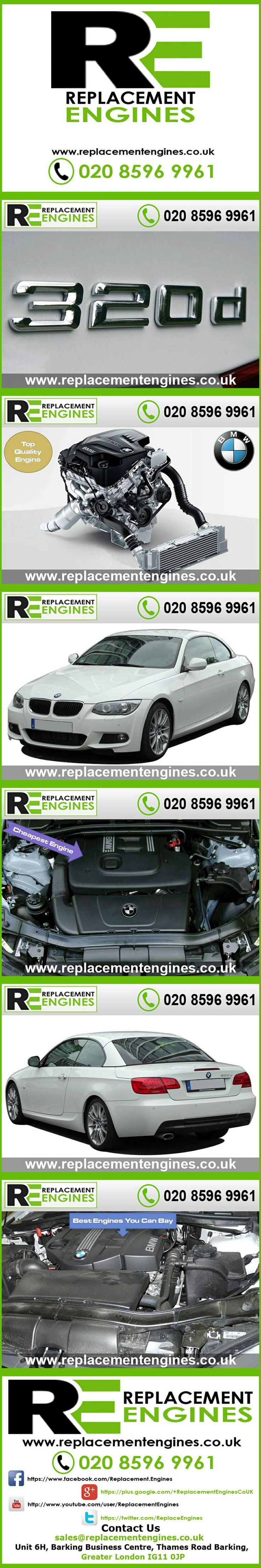 BMW 320d engines for sale at the cheapest prices, we have low mileage used & reconditioned engines in stock now, ready to be delivered to anywhere in the UK or overseas, visit Replacement Engines website here.