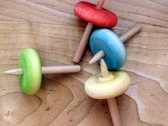 Simple Wooden Tops  Oh, these make great toys for @occshoeboxes shoeboxes!