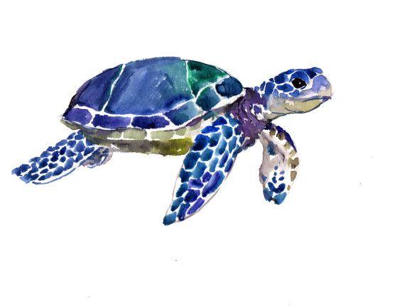 Tortugas marinas Acuarela original pintura 9 X 12 por ORIGINALONLY, $24.00
