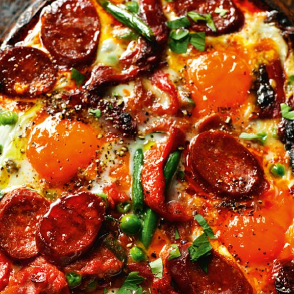 Indulge a deliciously decadent brunch or lunch with Rick Stein's Flamenco Eggs from his book, Long Weekends. The combination of smoky chorizo, sweet peppers and rich eggs is irresistible here.