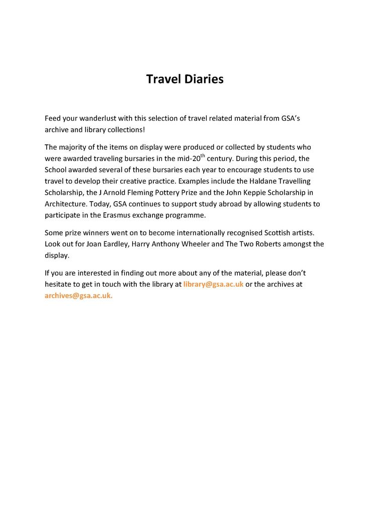 Travel Diaries Exhibition Blurb.