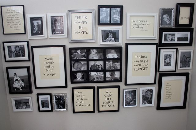 More photo wall ideas. Love the framed quotes!
