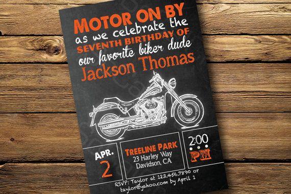 Chalkboard Style Harley Davidson Motorcycle Theme- Birthday Party Invitation, Digital or Printed