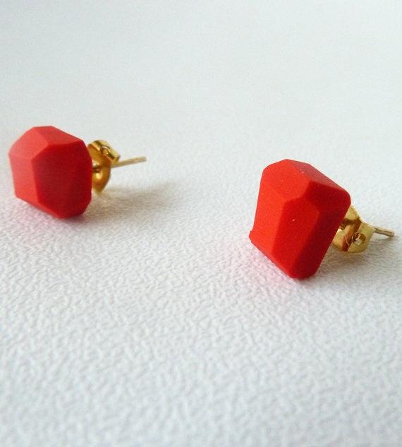hot red geo earrings #jewelry #clay #sculpey