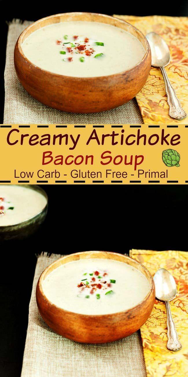 Creamy Artichoke Bacon Soup- Gluten free, low carb, keto and grain free. Super…
