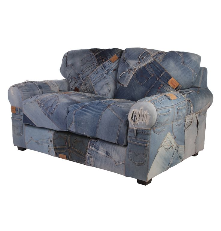 Denim 2 Seater Sofa Made Of Levi's Jeans - Matt Blatt