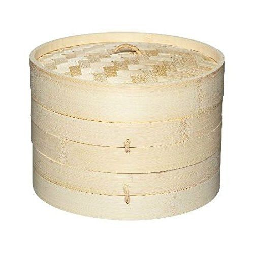 2 Tier Bamboo Steamer - For Oriental Foods - Vegetables Rice & Dim Sum (Pack of 2)