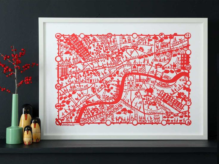 London hand screen printed city map |RED| Famille Summerbelle