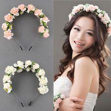 BOHO Flower Garland Floral Bridal Headband Hair band Wedding Party Festival