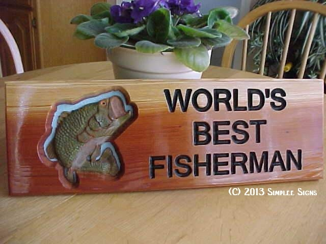 Beautiful carved sign.  Hand painted.