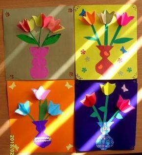 Tulpen. Malletje 2 of 3 x tegen elkaar laten plakken