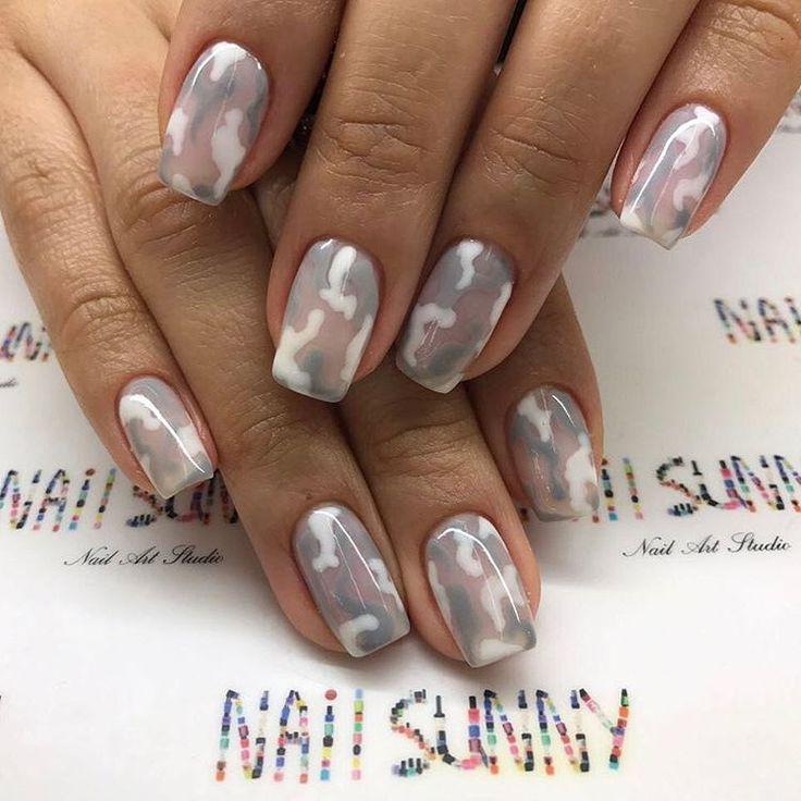 Бело-серый камуфляж ♣️ стоимость рисунка 100₽ ноготь, покрытие гель-лак 700₽, маникюр 200₽= 1900₽ ♣️ #nailsunny #follownailsunny #nailsunnytutorial