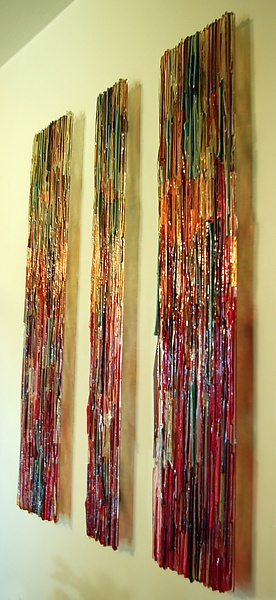 "This fused glass heavily textural pattern that plays illumination, color and texture. A feature of this piece is that it can be oriented in either a landscape or portrait format. The two large panels measure 30""x12""x1.5"" and the center panel 30""x8""x1.5   $8250.00"
