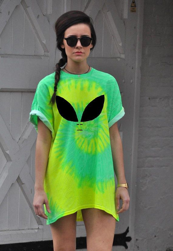 Oversized T-Shirt Alien Tie Dye dress HALLOWEEN costume!