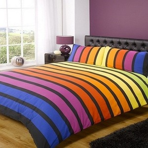 Bold Bright Multi Coloured Striped Soho Duvet Cover Set