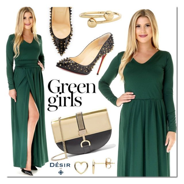 """Desir Vale Maxi dress"" by mada-malureanu ❤ liked on Polyvore featuring Green Girls, Lanvin, Christian Louboutin, J.W. Anderson and Estella Bartlett"
