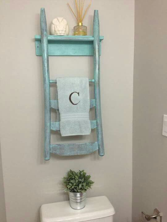 Salvaged old chair repurposed into shelf & towel holder; Upcycle, Recycle, Salvage, diy, thrift, flea, repurpose, refashion!  For vintage ideas and goods shop Estate ReSale & ReDesign, FL